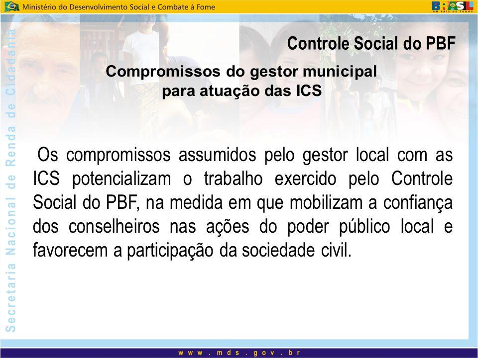Controle Social do PBF Compromissos do gestor municipal para atuação das ICS Os compromissos assumidos pelo gestor local com as ICS potencializam o tr