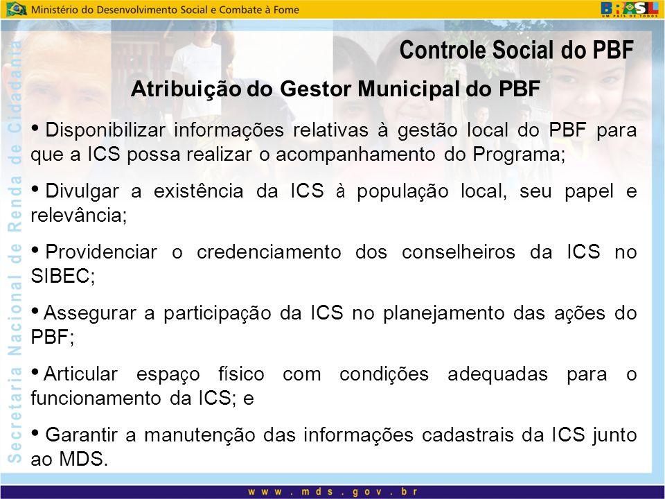 Controle Social do PBF Disponibilizar informações relativas à gestão local do PBF para que a ICS possa realizar o acompanhamento do Programa; Divulgar