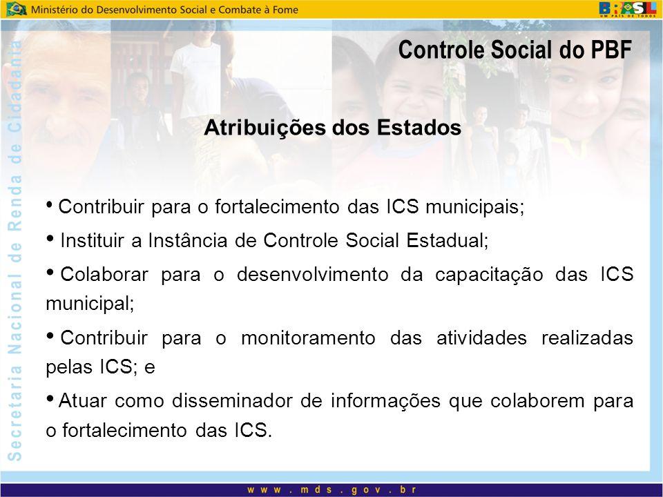 Controle Social do PBF Atribuições dos Estados Contribuir para o fortalecimento das ICS municipais; Instituir a Instância de Controle Social Estadual;