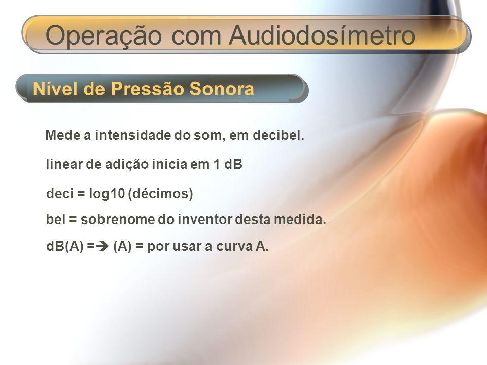 Nível de Pressão Sonora Operação com Audiodosímetro Curvas: A – B – C - D