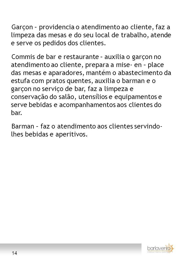14 Garçon – providencia o atendimento ao cliente, faz a limpeza das mesas e do seu local de trabalho, atende e serve os pedidos dos clientes. Commis d