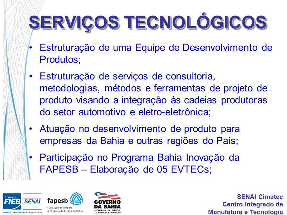 SENAI Cimatec Centro Integrado de Manufatura e Tecnologia SERVIÇOS TECNOLÓGICOS Estruturação de uma Equipe de Desenvolvimento de Produtos; Estruturaçã