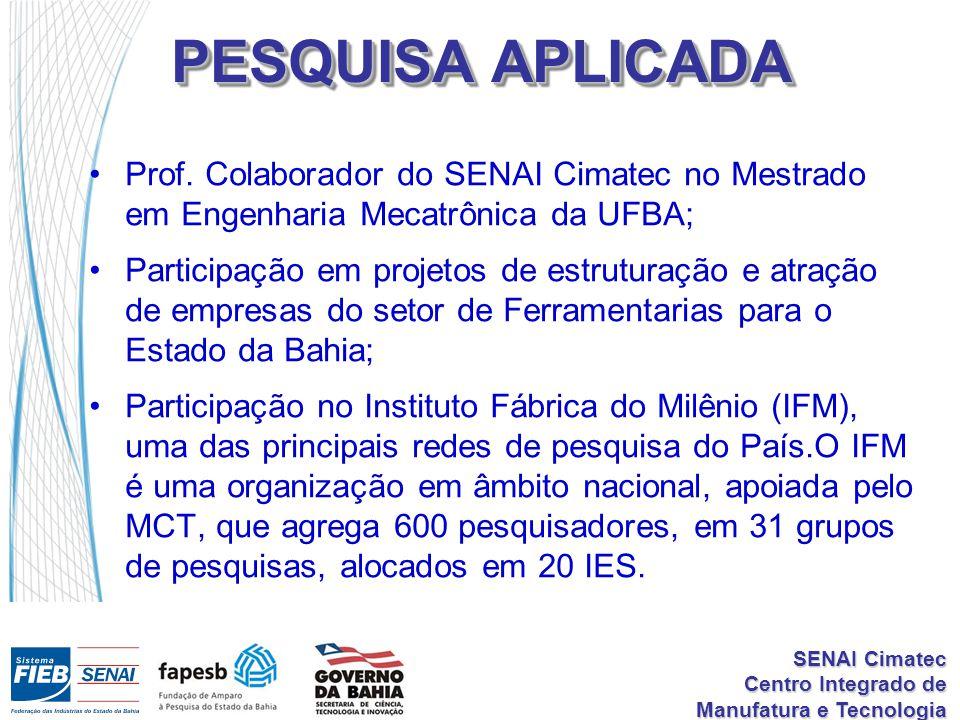 SENAI Cimatec Centro Integrado de Manufatura e Tecnologia PESQUISA APLICADA Prof.