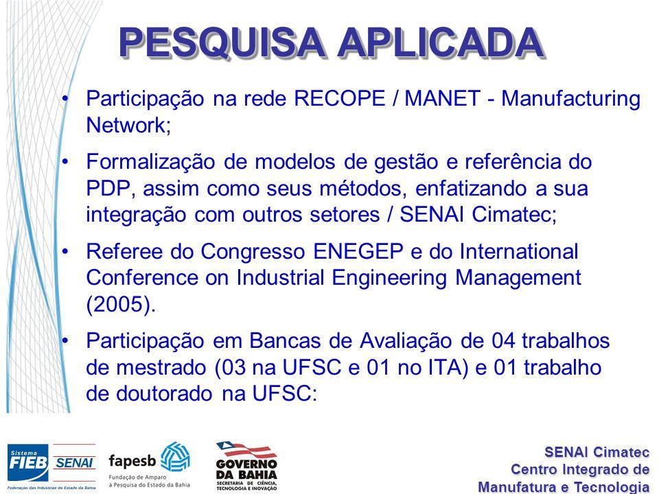 SENAI Cimatec Centro Integrado de Manufatura e Tecnologia PESQUISA APLICADA Participação na rede RECOPE / MANET - Manufacturing Network; Formalização