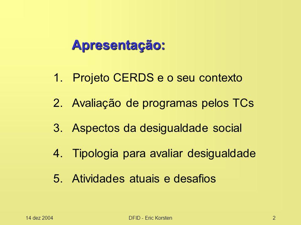 14 dez 2004DFID - Eric Korsten2 Apresentação: 1.Projeto CERDS e o seu contexto 2.