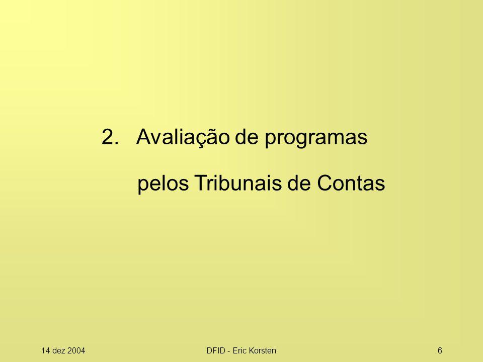 14 dez 2004DFID - Eric Korsten27 Como aproveitar do Projeto CERDS: no Brasil Projeto PROMOEX 2005- 2010 (BID) Outras iniciativas na América Latina DFID Regional Action Plan 2005- 2008 Projetos no âmbito da OLACEFS e Mercosul