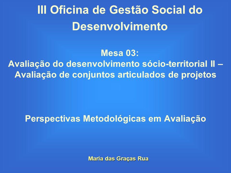 III Oficina de Gestão Social do Desenvolvimento Mesa 03: Avaliação do desenvolvimento sócio-territorial II – Avaliação de conjuntos articulados de pro