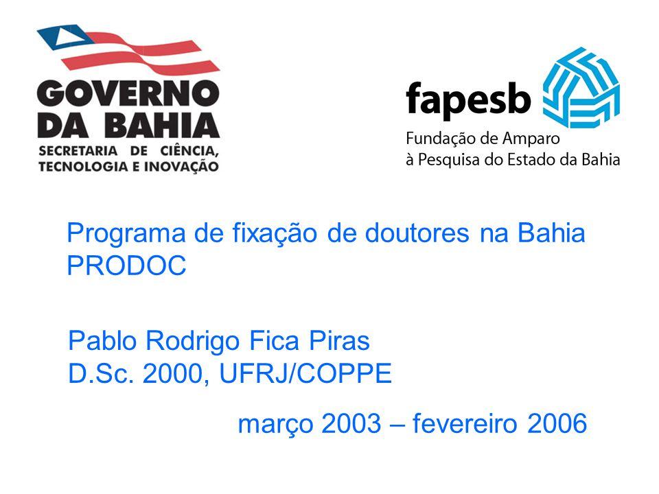 Programa de fixação de doutores na Bahia PRODOC março 2003 – fevereiro 2006 Pablo Rodrigo Fica Piras D.Sc. 2000, UFRJ/COPPE