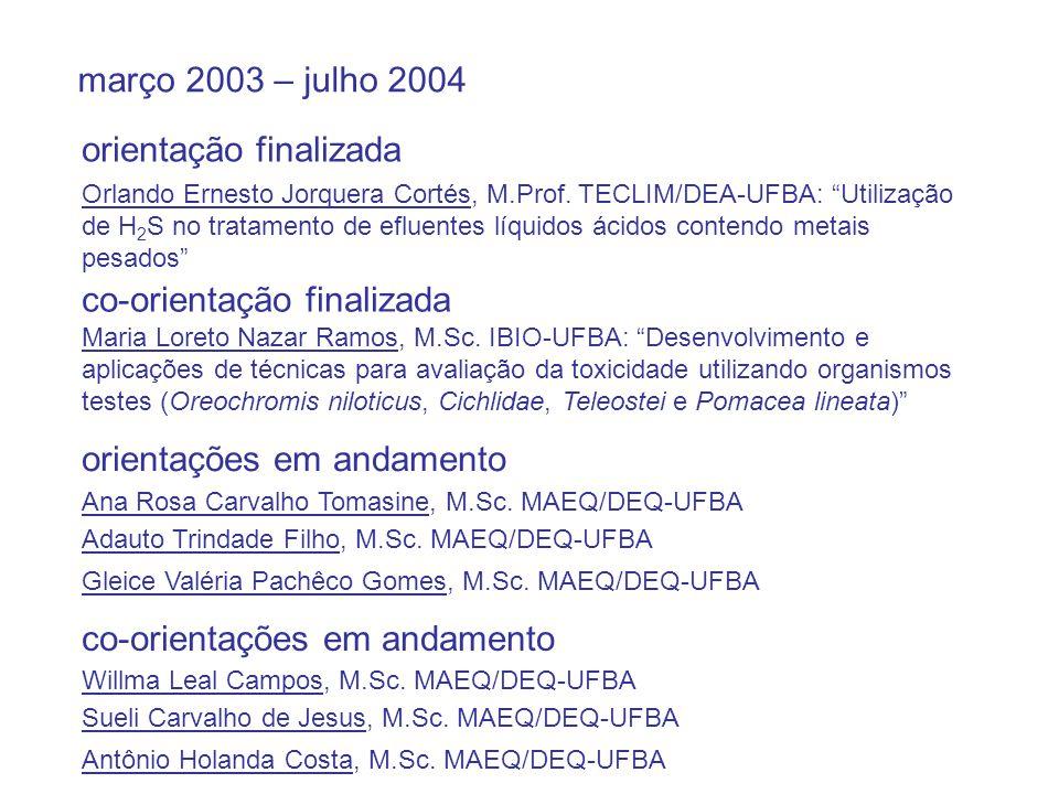 """março 2003 – julho 2004 orientação finalizada Orlando Ernesto Jorquera Cortés, M.Prof. TECLIM/DEA-UFBA: """"Utilização de H 2 S no tratamento de efluente"""