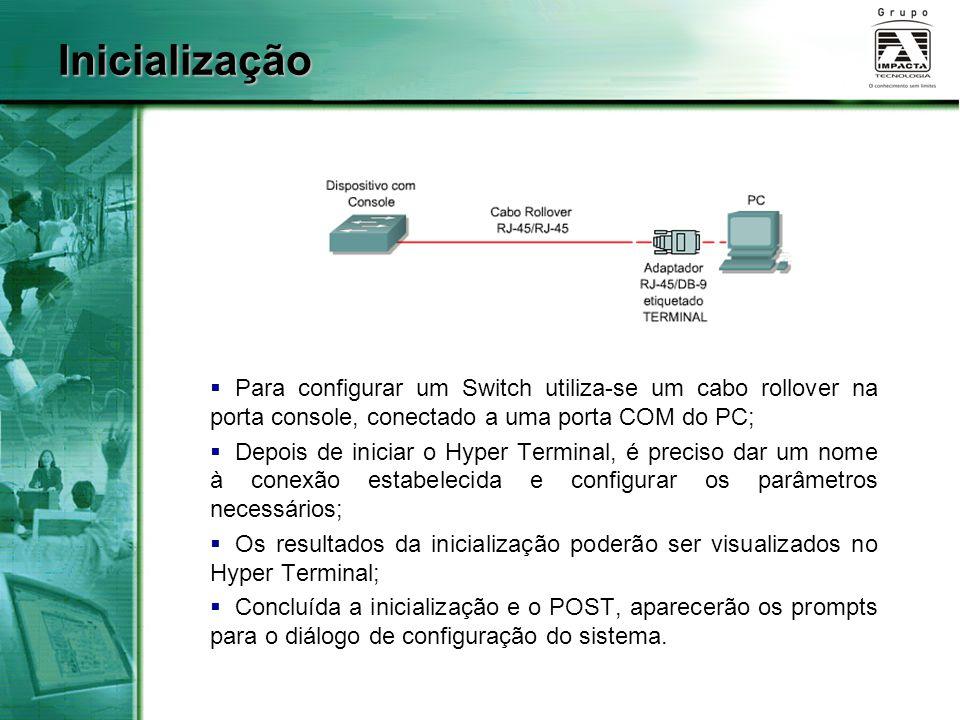  Para configurar um Switch utiliza-se um cabo rollover na porta console, conectado a uma porta COM do PC;  Depois de iniciar o Hyper Terminal, é preciso dar um nome à conexão estabelecida e configurar os parâmetros necessários;  Os resultados da inicialização poderão ser visualizados no Hyper Terminal;  Concluída a inicialização e o POST, aparecerão os prompts para o diálogo de configuração do sistema.