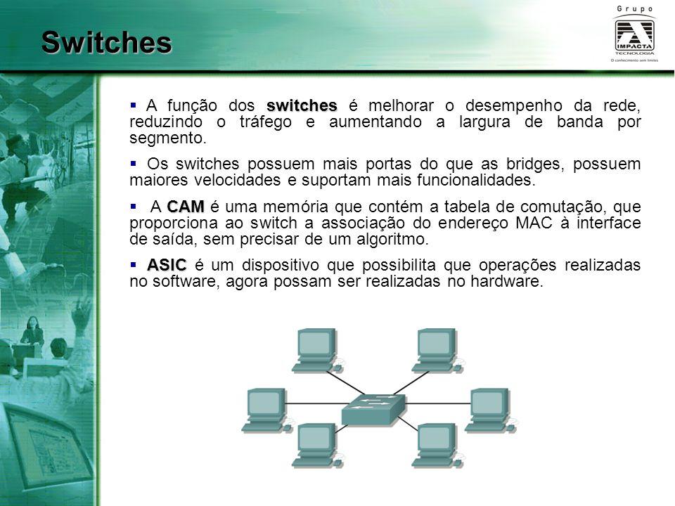 switches  A função dos switches é melhorar o desempenho da rede, reduzindo o tráfego e aumentando a largura de banda por segmento.