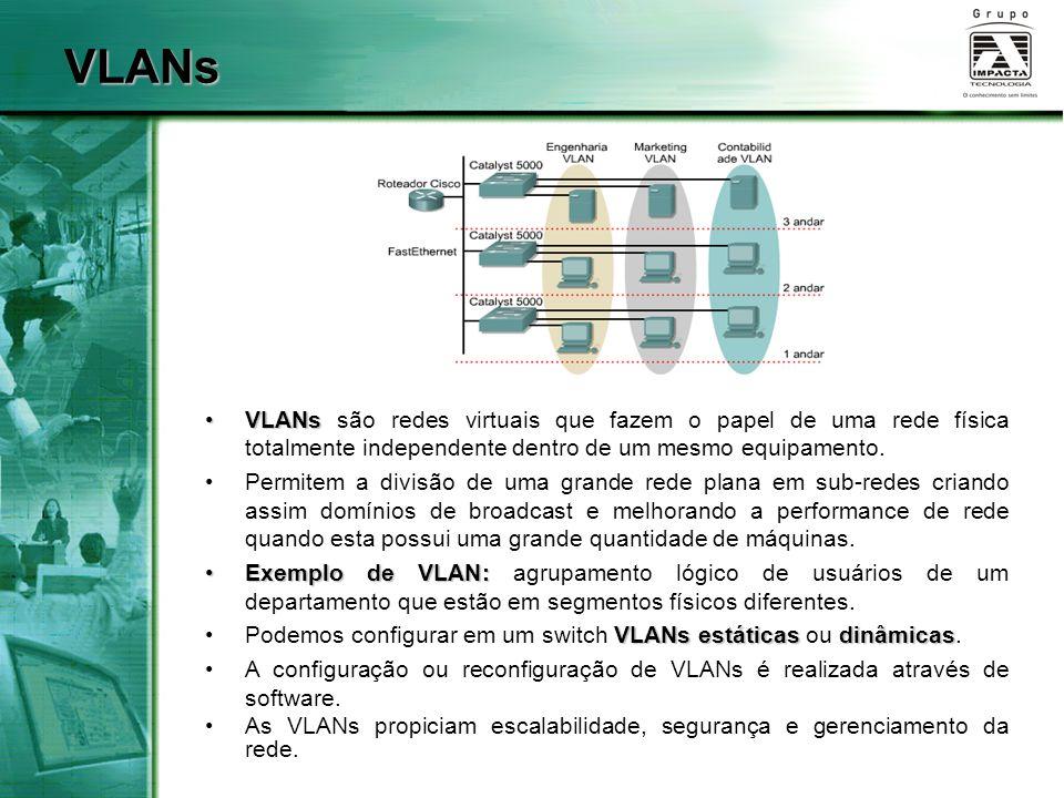 VLANsVLANs são redes virtuais que fazem o papel de uma rede física totalmente independente dentro de um mesmo equipamento.