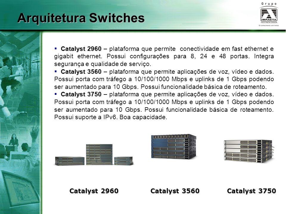Catalyst 2960  Catalyst 2960 – plataforma que permite conectividade em fast ethernet e gigabit ethernet.
