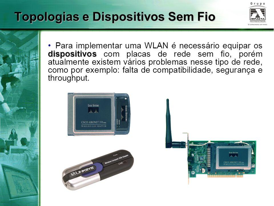 Topologias e Dispositivos Sem Fio dispositivos Para implementar uma WLAN é necessário equipar os dispositivos com placas de rede sem fio, porém atualmente existem vários problemas nesse tipo de rede, como por exemplo: falta de compatibilidade, segurança e throughput.