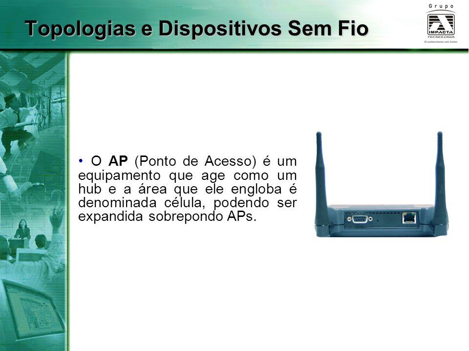 Topologias e Dispositivos Sem Fio O AP (Ponto de Acesso) é um equipamento que age como um hub e a área que ele engloba é denominada célula, podendo ser expandida sobrepondo APs.
