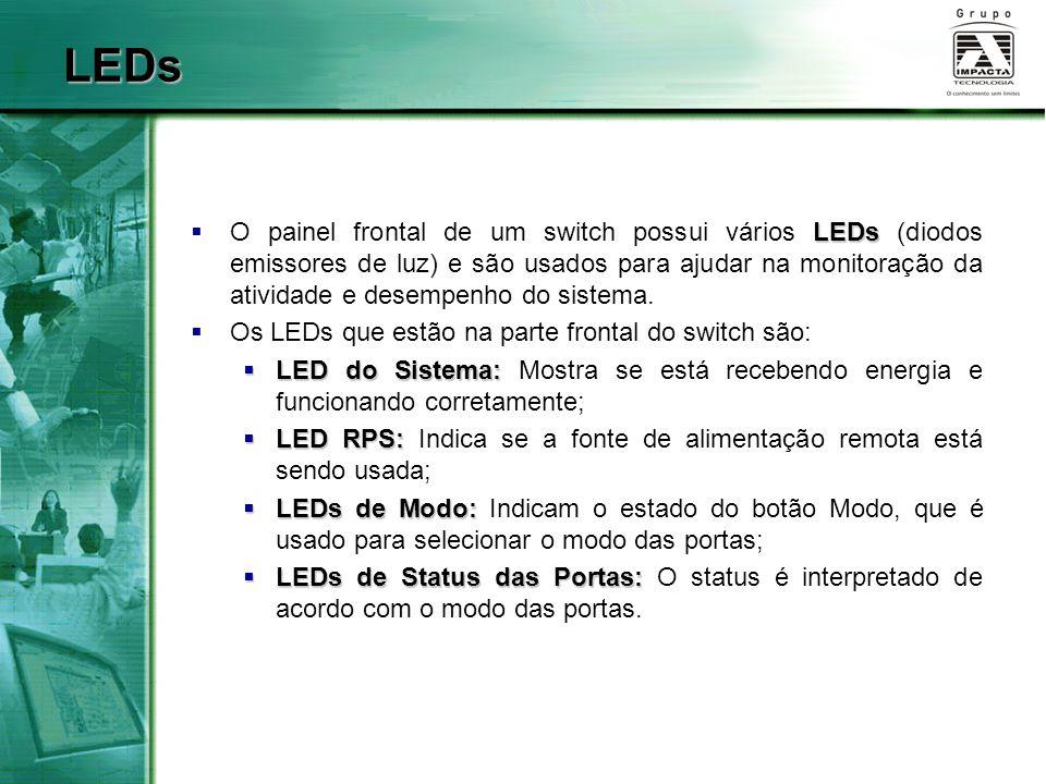 LEDs  O painel frontal de um switch possui vários LEDs (diodos emissores de luz) e são usados para ajudar na monitoração da atividade e desempenho do sistema.