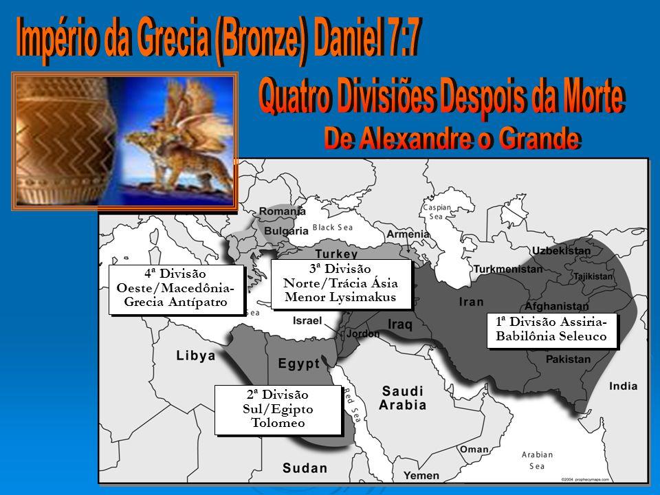 4ª Divisão Oeste/Macedônia- Grecia Antípatro 3ª Divisão Norte/Trácia Ásia Menor Lysimakus 1ª Divisão Assiria- Babilônia Seleuco 2ª Divisão Sul/Egipto