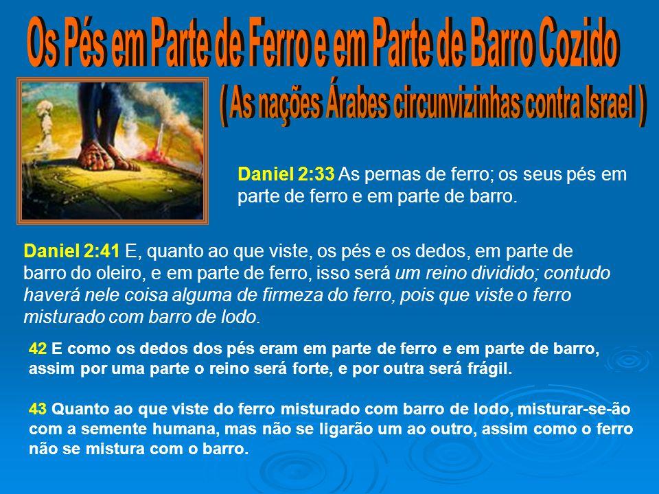 Daniel 2:33 As pernas de ferro; os seus pés em parte de ferro e em parte de barro.
