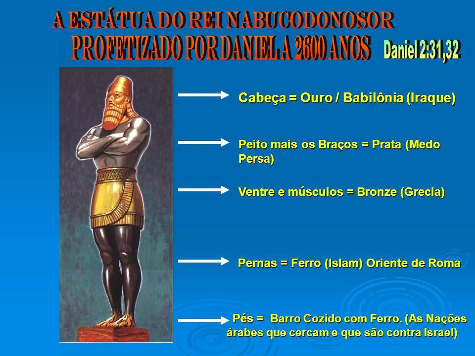 Cabeça = Ouro / Babilônia (Iraque) Peito mais os Braços = Prata (Medo Persa) Ventre e músculos = Bronze (Grecia) Pernas = Ferro (Islam) Oriente de Roma Pés = Barro Cozido com Ferro.