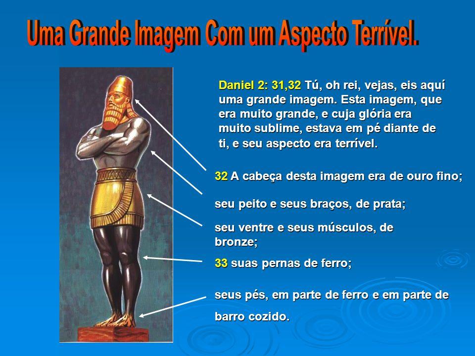 Daniel 2: 31,32Tú, oh rei, vejas, eis aquí uma grande imagem. Esta imagem, que era muito grande, e cuja glória era muito sublime, estava em pé diante