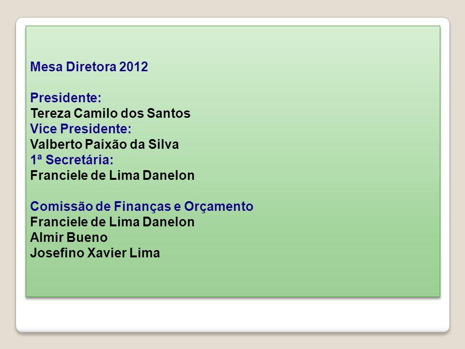 Mesa Diretora 2012 Presidente: Tereza Camilo dos Santos Vice Presidente: Valberto Paixão da Silva 1ª Secretária: Franciele de Lima Danelon Comissão de