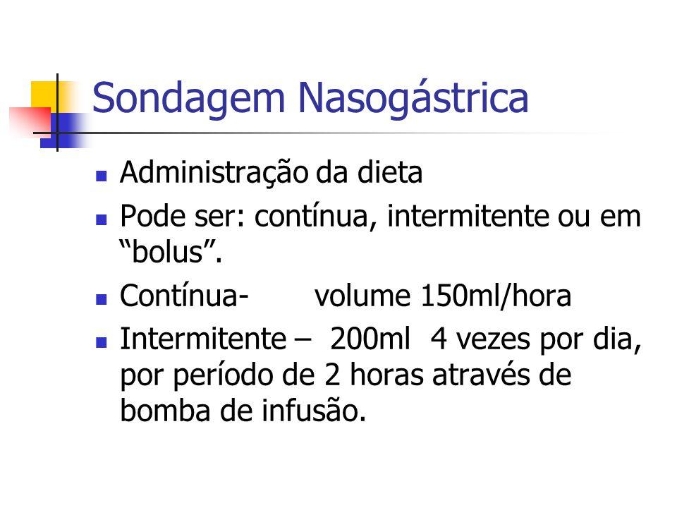 """Sondagem Nasogástrica Administração da dieta Pode ser: contínua, intermitente ou em """"bolus"""". Contínua- volume 150ml/hora Intermitente – 200ml 4 vezes"""