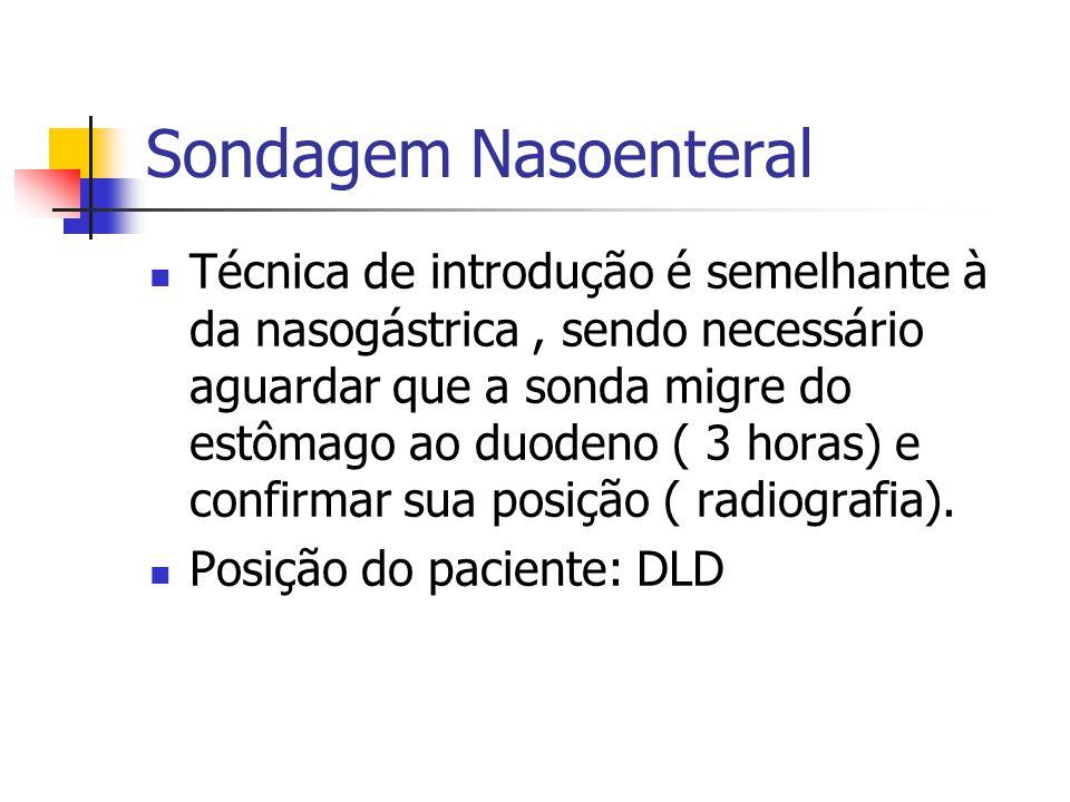 Sondagem Nasoenteral Técnica de introdução é semelhante à da nasogástrica, sendo necessário aguardar que a sonda migre do estômago ao duodeno ( 3 hora