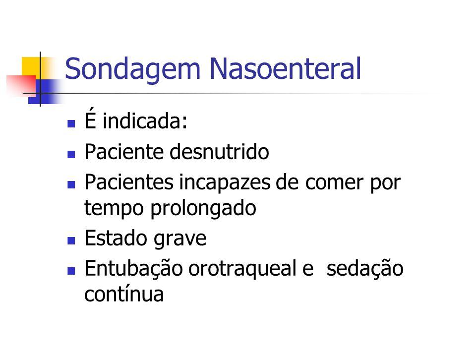 Sondagem Nasoenteral É indicada: Paciente desnutrido Pacientes incapazes de comer por tempo prolongado Estado grave Entubação orotraqueal e sedação co