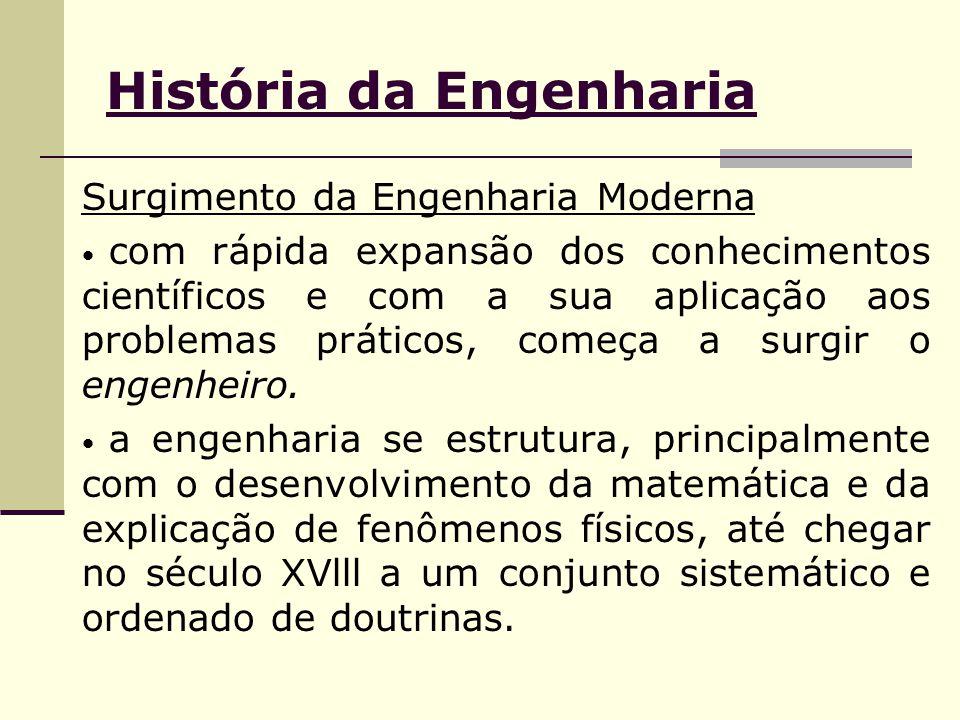 História da Engenharia Surgimento da Engenharia Moderna com rápida expansão dos conhecimentos científicos e com a sua aplicação aos problemas práticos, começa a surgir o engenheiro.
