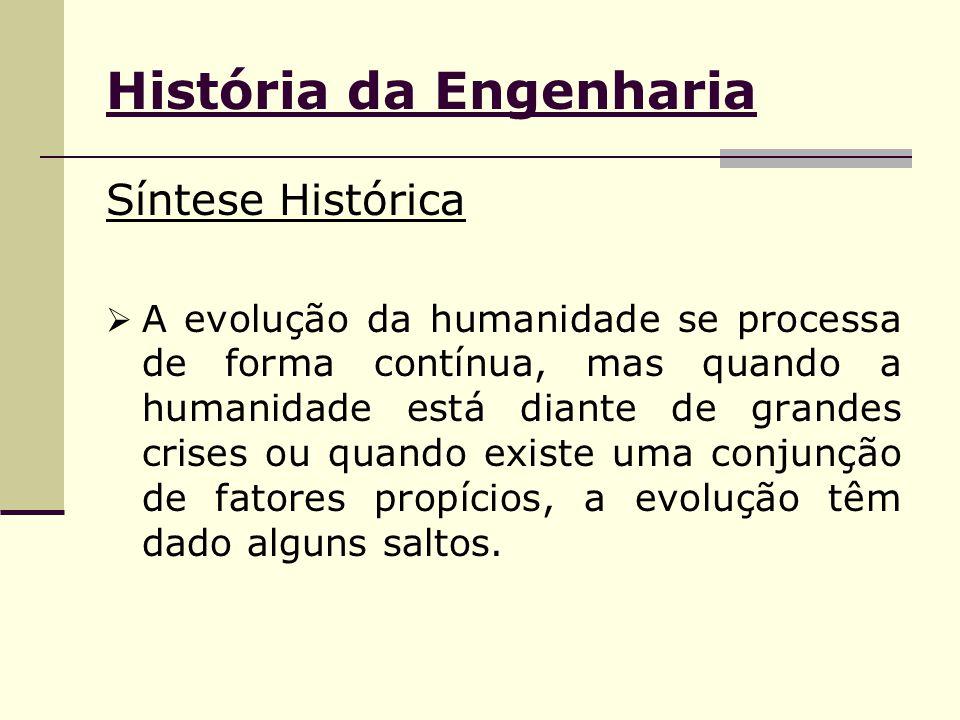 História da Engenharia Síntese Histórica  A evolução da humanidade se processa de forma contínua, mas quando a humanidade está diante de grandes cris