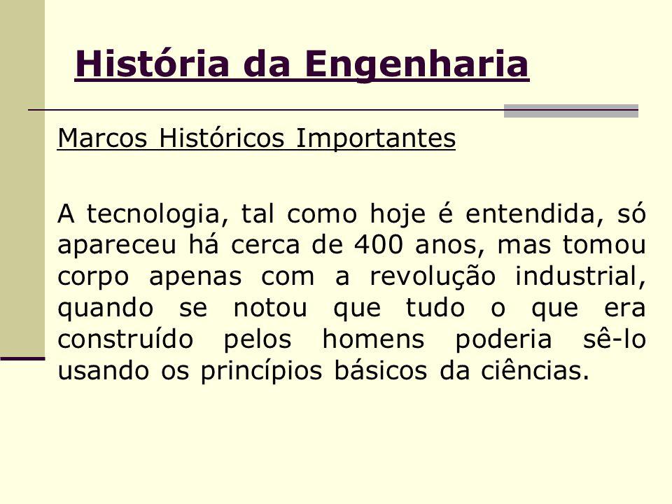 História da Engenharia Marcos Históricos Importantes A tecnologia, tal como hoje é entendida, só apareceu há cerca de 400 anos, mas tomou corpo apenas