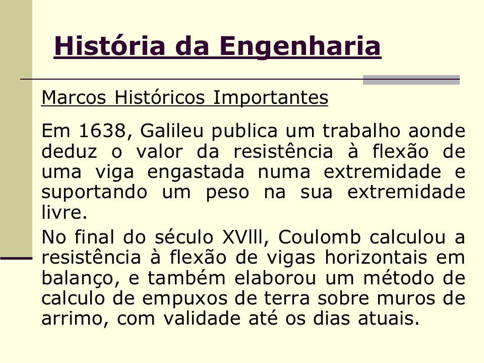 História da Engenharia Marcos Históricos Importantes Em 1638, Galileu publica um trabalho aonde deduz o valor da resistência à flexão de uma viga engastada numa extremidade e suportando um peso na sua extremidade livre.