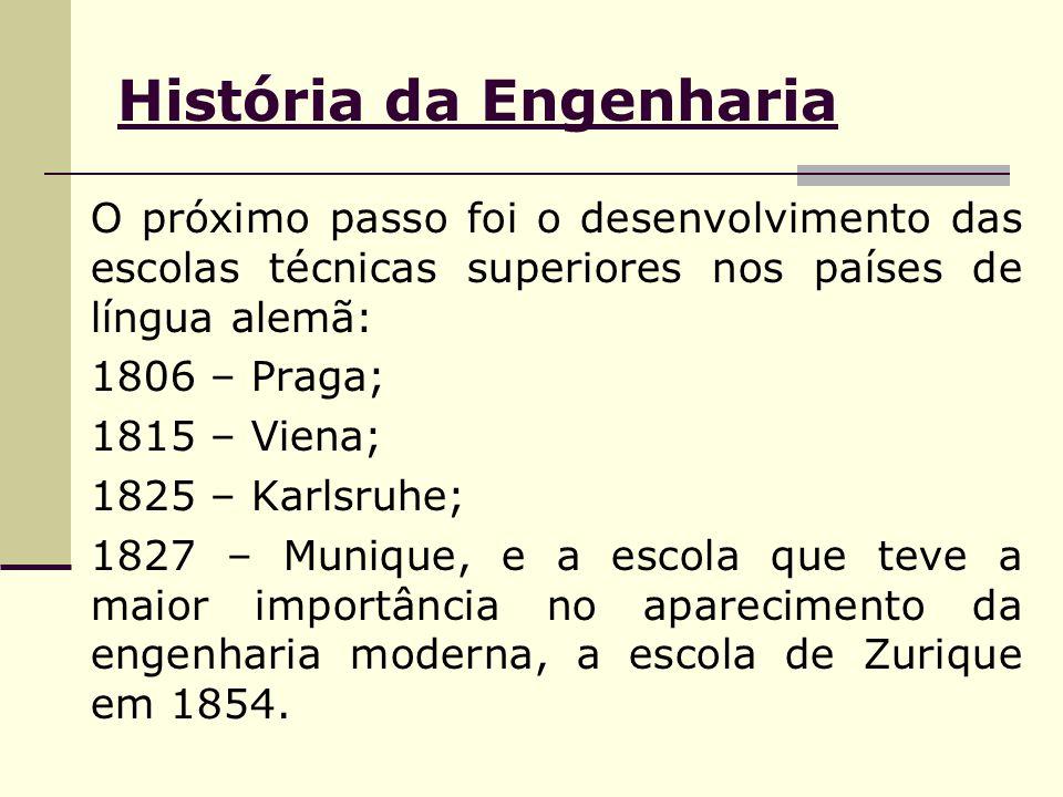 História da Engenharia O próximo passo foi o desenvolvimento das escolas técnicas superiores nos países de língua alemã: 1806 – Praga; 1815 – Viena; 1