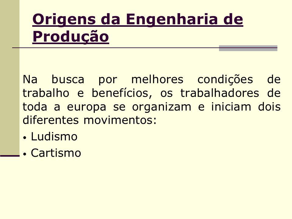 Origens da Engenharia de Produção Na busca por melhores condições de trabalho e benefícios, os trabalhadores de toda a europa se organizam e iniciam dois diferentes movimentos: Ludismo Cartismo