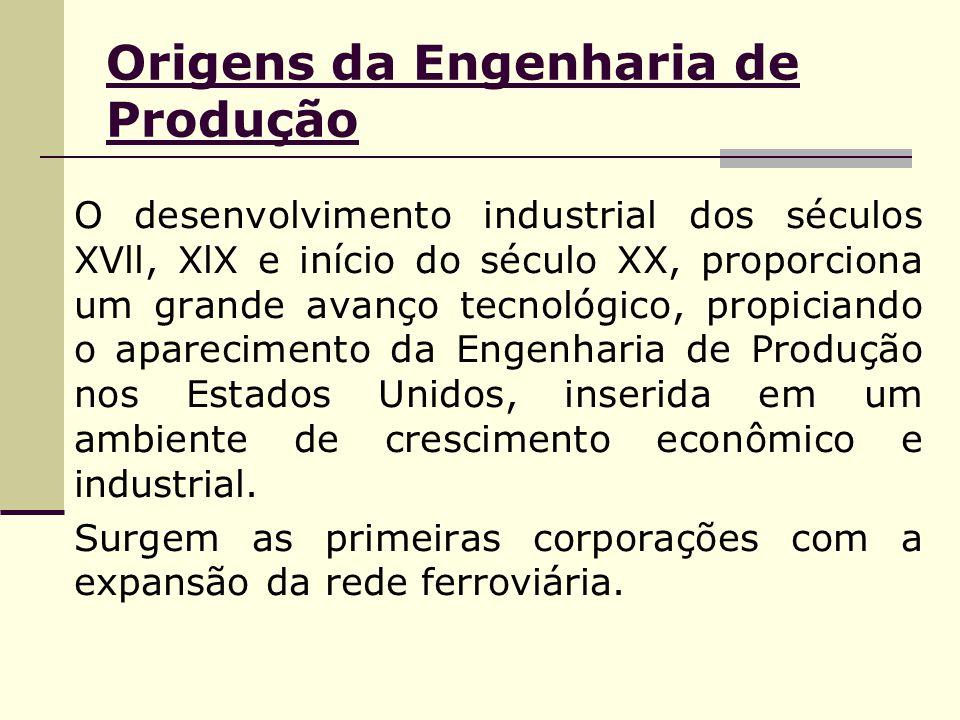 Origens da Engenharia de Produção O desenvolvimento industrial dos séculos XVll, XlX e início do século XX, proporciona um grande avanço tecnológico,