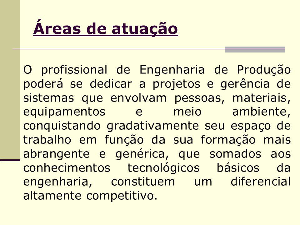 Áreas de atuação O profissional de Engenharia de Produção poderá se dedicar a projetos e gerência de sistemas que envolvam pessoas, materiais, equipam