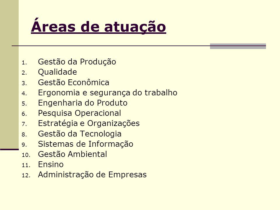 Áreas de atuação 1. Gestão da Produção 2. Qualidade 3. Gestão Econômica 4. Ergonomia e segurança do trabalho 5. Engenharia do Produto 6. Pesquisa Oper