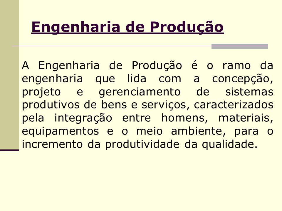 Engenharia de Produção A Engenharia de Produção é o ramo da engenharia que lida com a concepção, projeto e gerenciamento de sistemas produtivos de bens e serviços, caracterizados pela integração entre homens, materiais, equipamentos e o meio ambiente, para o incremento da produtividade da qualidade.