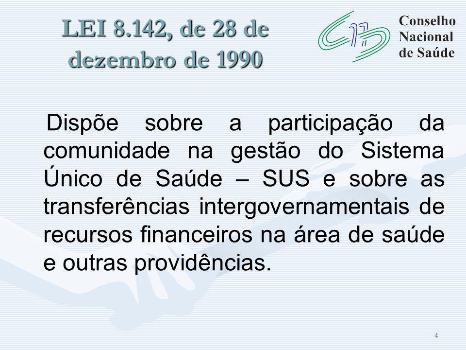 4 LEI 8.142, de 28 de dezembro de 1990 Dispõe sobre a participação da comunidade na gestão do Sistema Único de Saúde – SUS e sobre as transferências intergovernamentais de recursos financeiros na área de saúde e outras providências.