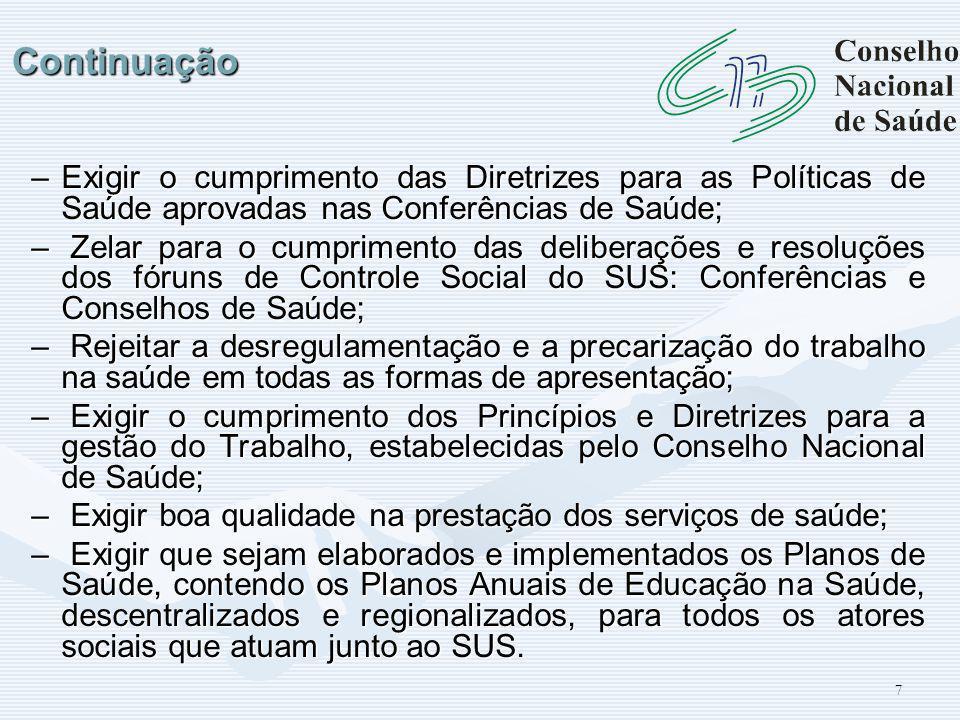 18 Francisco Júnior *Farmacêutico Membro da Mesa Diretora do Conselho Nacional de Saúde, onde representa a Confederação Nacional dos Trabalhadores em Seguridade Social da CUT.