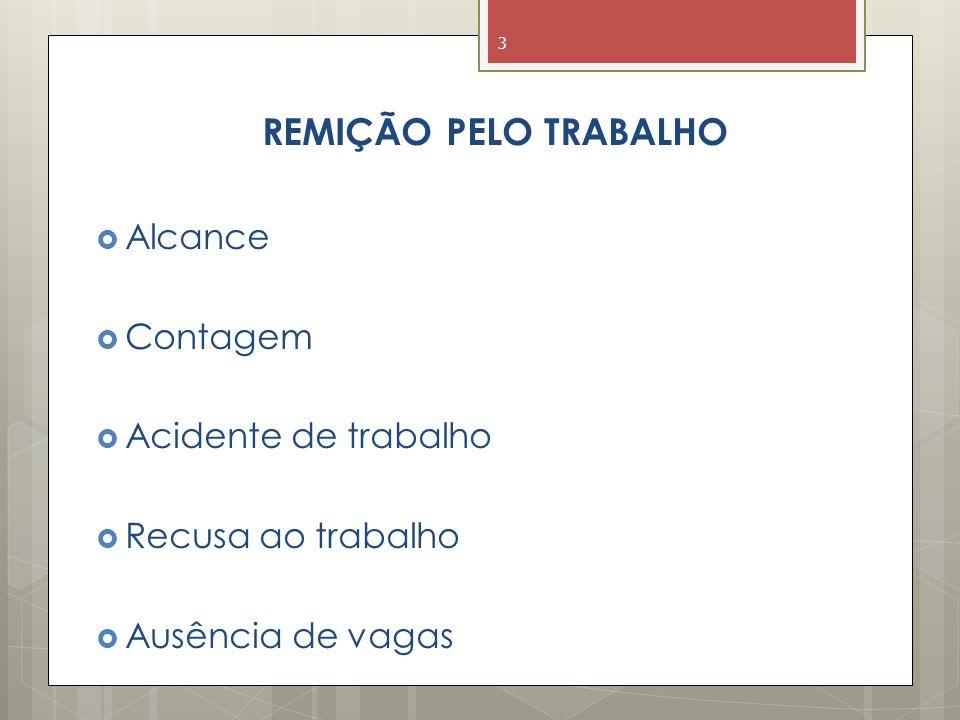 REMIÇÃO PELO TRABALHO  Alcance  Contagem  Acidente de trabalho  Recusa ao trabalho  Ausência de vagas 3