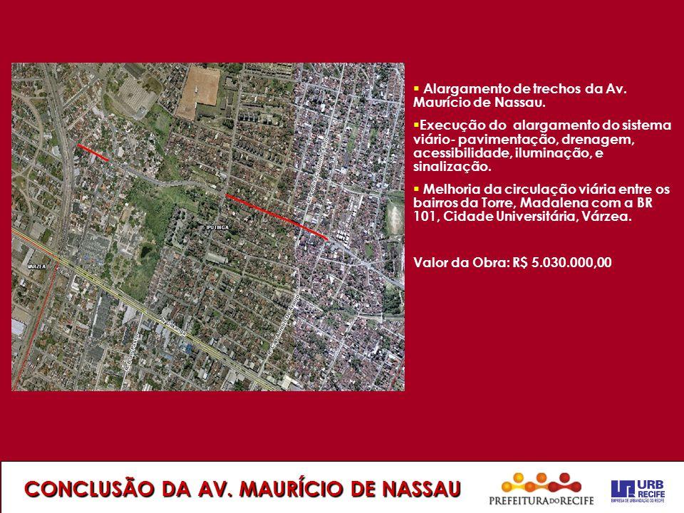 CONCLUSÃO DA AV. MAURÍCIO DE NASSAU  Alargamento de trechos da Av. Maurício de Nassau.  Execução do alargamento do sistema viário- pavimentação, dre