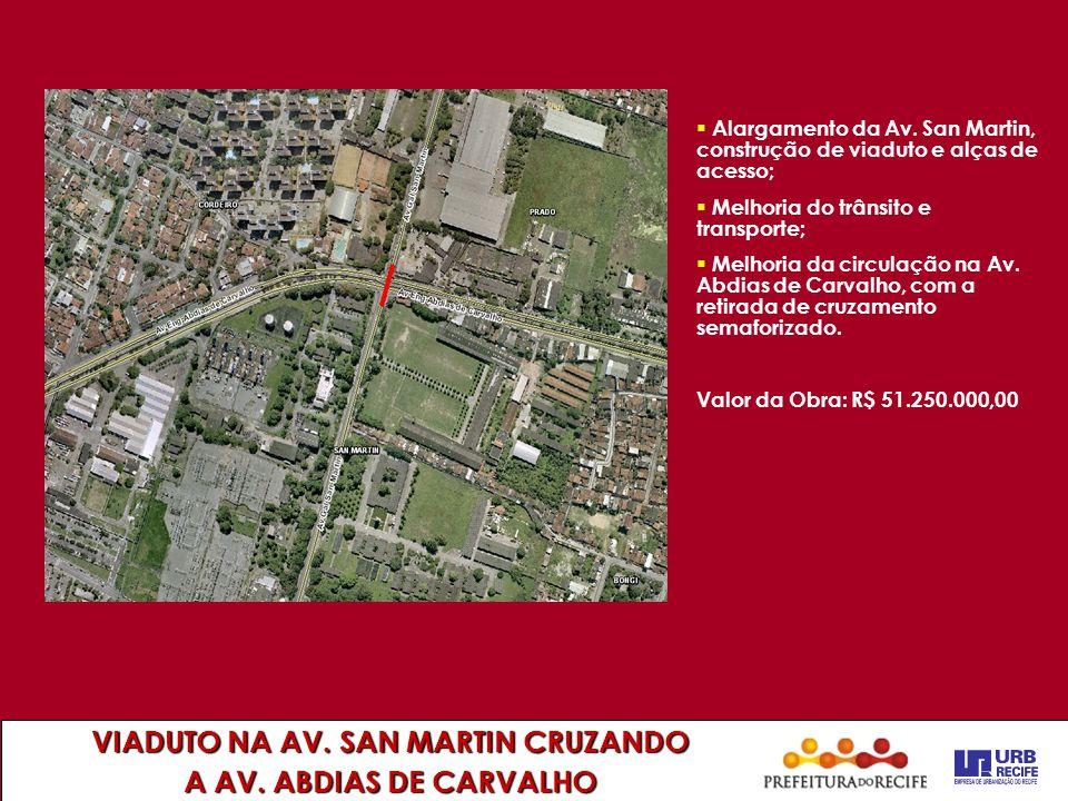 VIADUTO NA AV. SAN MARTIN CRUZANDO A AV. ABDIAS DE CARVALHO  Alargamento da Av. San Martin, construção de viaduto e alças de acesso;  Melhoria do tr