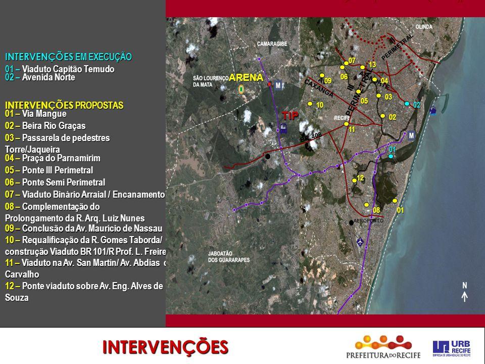 INTERVENÇÕES INTERVENÇÕES PROPOSTAS 01 – Via Mangue 02 – Beira Rio Graças 03 – Passarela de pedestres Torre/Jaqueira 05 – Ponte III Perimetral 04 – Pr