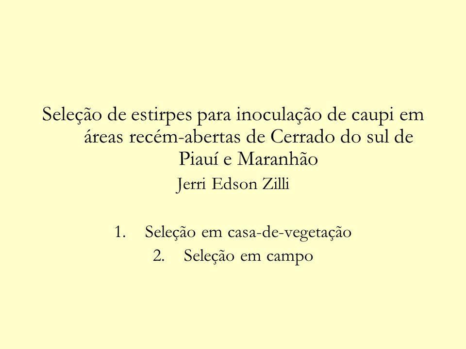 Seleção de estirpes para inoculação de caupi em áreas recém-abertas de Cerrado do sul de Piauí e Maranhão Jerri Edson Zilli 1.Seleção em casa-de-veget