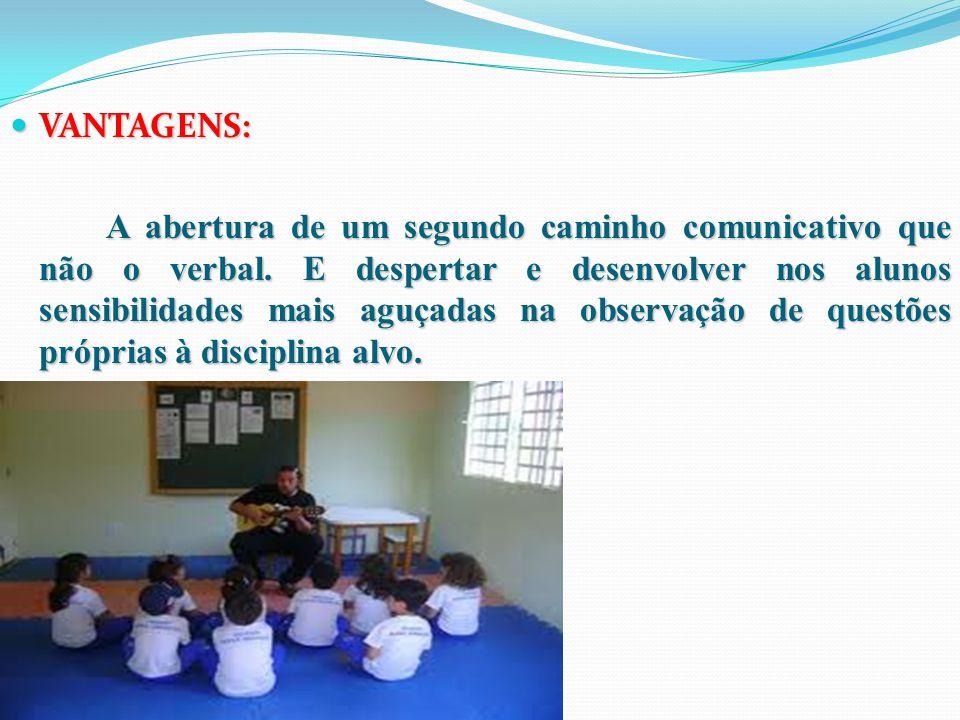 VANTAGENS: VANTAGENS: A abertura de um segundo caminho comunicativo que não o verbal.