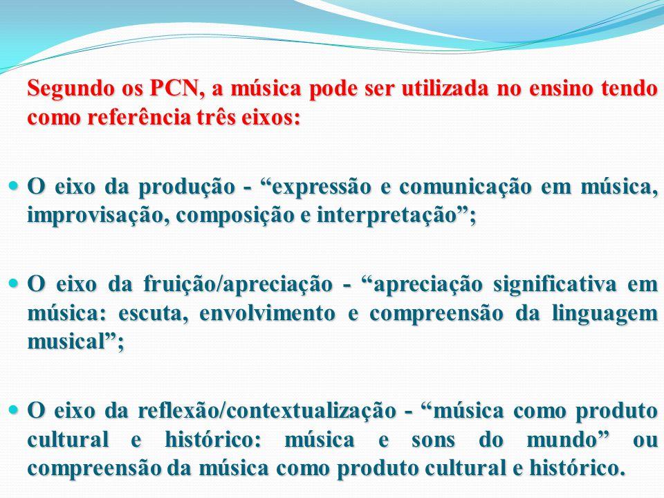 Segundo os PCN, a música pode ser utilizada no ensino tendo como referência três eixos: O eixo da produção - expressão e comunicação em música, improvisação, composição e interpretação ; O eixo da produção - expressão e comunicação em música, improvisação, composição e interpretação ; O eixo da fruição/apreciação - apreciação significativa em música: escuta, envolvimento e compreensão da linguagem musical ; O eixo da fruição/apreciação - apreciação significativa em música: escuta, envolvimento e compreensão da linguagem musical ; O eixo da reflexão/contextualização - música como produto cultural e histórico: música e sons do mundo ou compreensão da música como produto cultural e histórico.