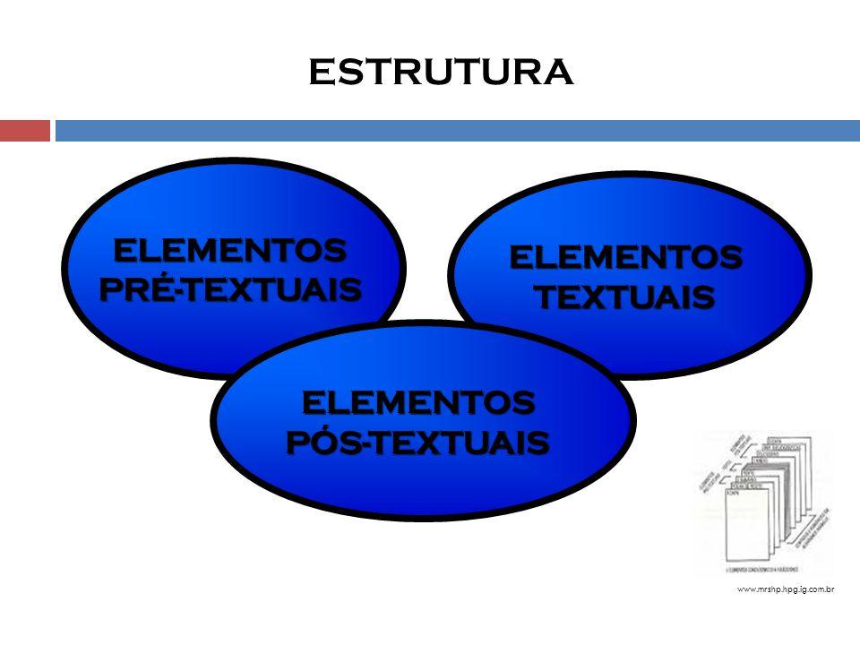 ESTRUTURA www.mrshp.hpg.ig.com.br ELEMENTOSPRÉ-TEXTUAIS ELEMENTOSTEXTUAIS ELEMENTOSPÓS-TEXTUAIS
