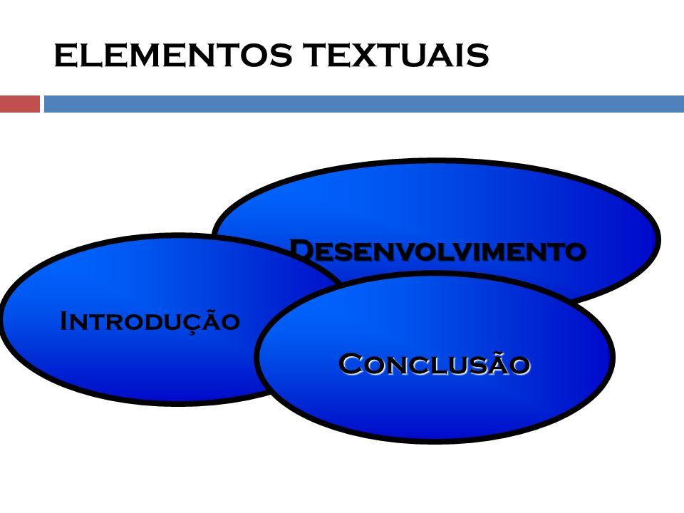 Desenvolvimento ELEMENTOS TEXTUAIS Introdução Conclusão