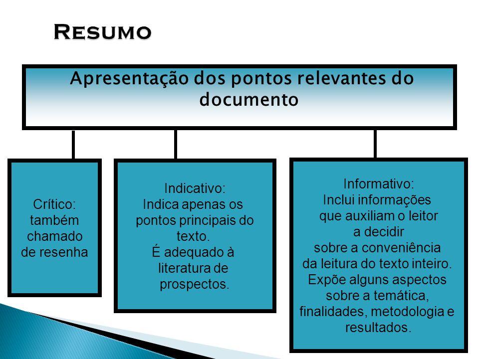 Apresentação dos pontos relevantes do documento Crítico: também chamado de resenha Indicativo: Indica apenas os pontos principais do texto. É adequado